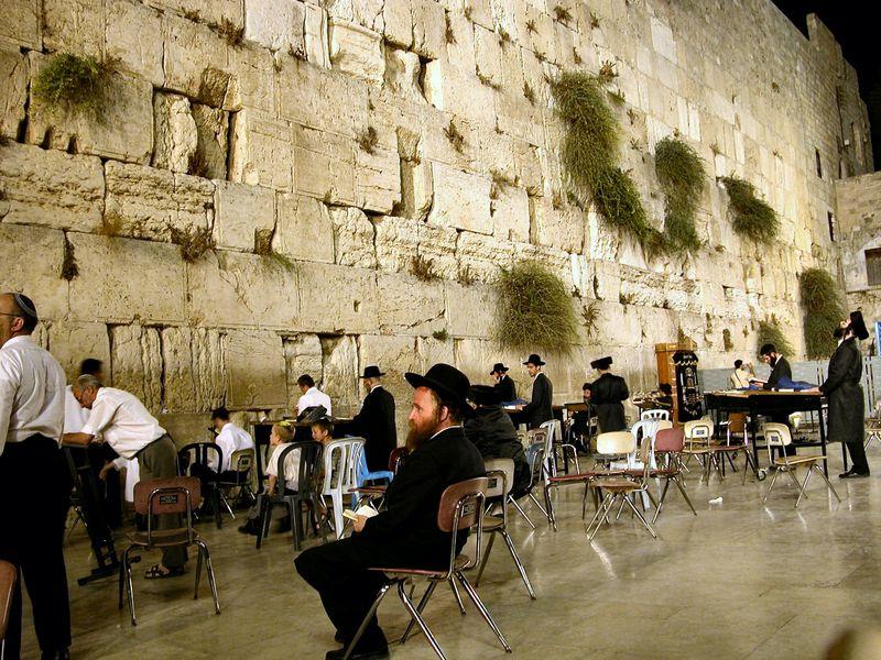 Men praying at Western Wall at night, tb092802